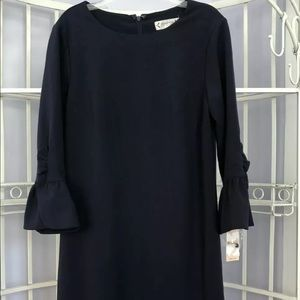 Nanette Lepore Navy Blue Sheath Ruffle Bell Sleeve